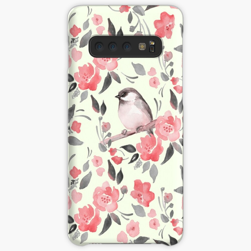 Watercolor floral background with cute bird /2 Case & Skin for Samsung Galaxy