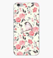 Vinilo o funda para iPhone Fondo floral de acuarela con lindo pájaro / 2