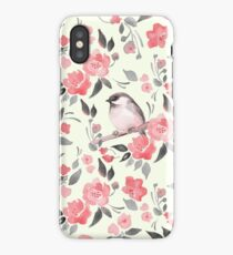 Watercolor floral background with cute bird /2 iPhone XS Case