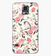 Aquarellblumenhintergrund mit nettem Vogel / 2 Hülle & Klebefolie für Samsung Galaxy