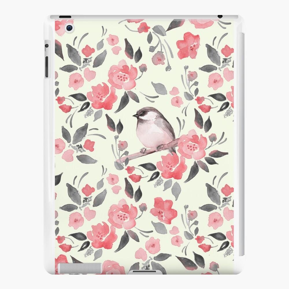 Aquarellblumenhintergrund mit nettem Vogel / 2 iPad-Hüllen & Klebefolien