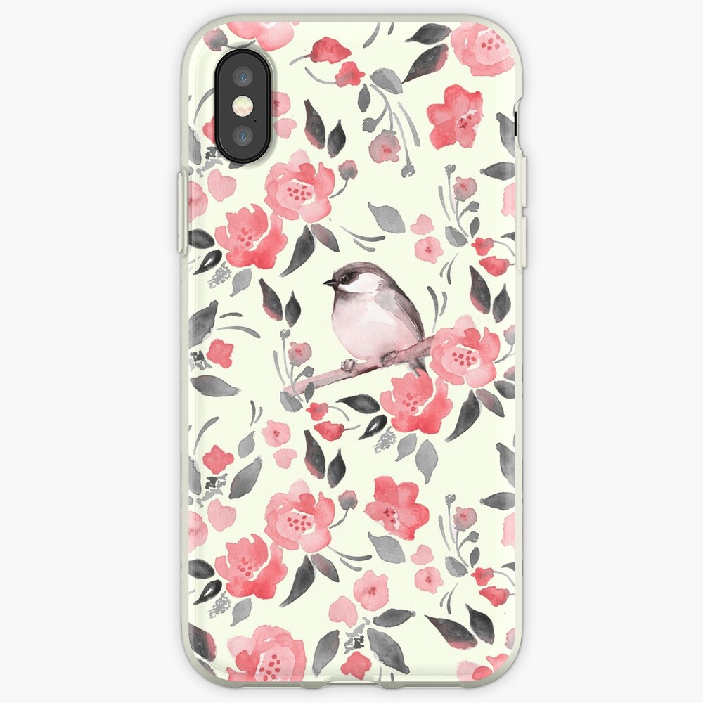 Aquarellblumenhintergrund mit nettem Vogel / 2 iPhone-Hüllen & Cover