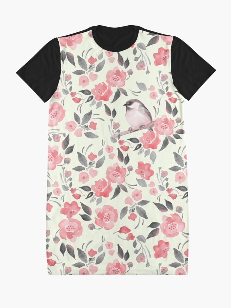 Alternative Ansicht von Aquarellblumenhintergrund mit nettem Vogel / 2 T-Shirt Kleid