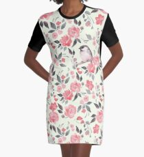 Watercolor floral background with cute bird /2 Graphic T-Shirt Dress