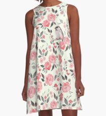 Watercolor floral background with cute bird /2 A-Line Dress