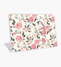 Watercolor floral background with cute bird /2 Laptop Skin