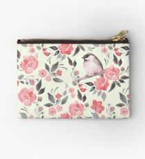 Watercolor floral background with cute bird /2 Zipper Pouch