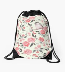 Watercolor floral background with cute bird /2 Drawstring Bag
