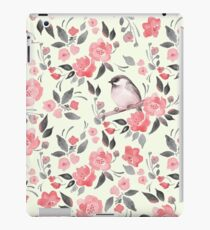 Aquarellblumenhintergrund mit nettem Vogel / 2 iPad-Hülle & Klebefolie