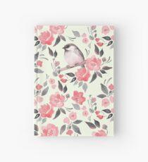 Cuaderno de tapa dura Fondo floral de acuarela con lindo pájaro / 2