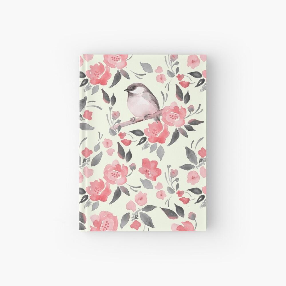 Aquarellblumenhintergrund mit nettem Vogel / 2 Notizbuch