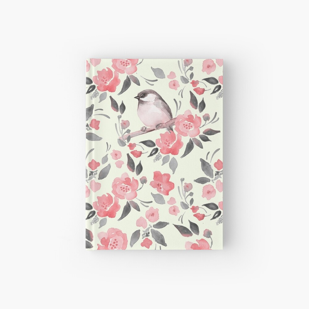 Watercolor floral background with cute bird /2 Hardcover Journal