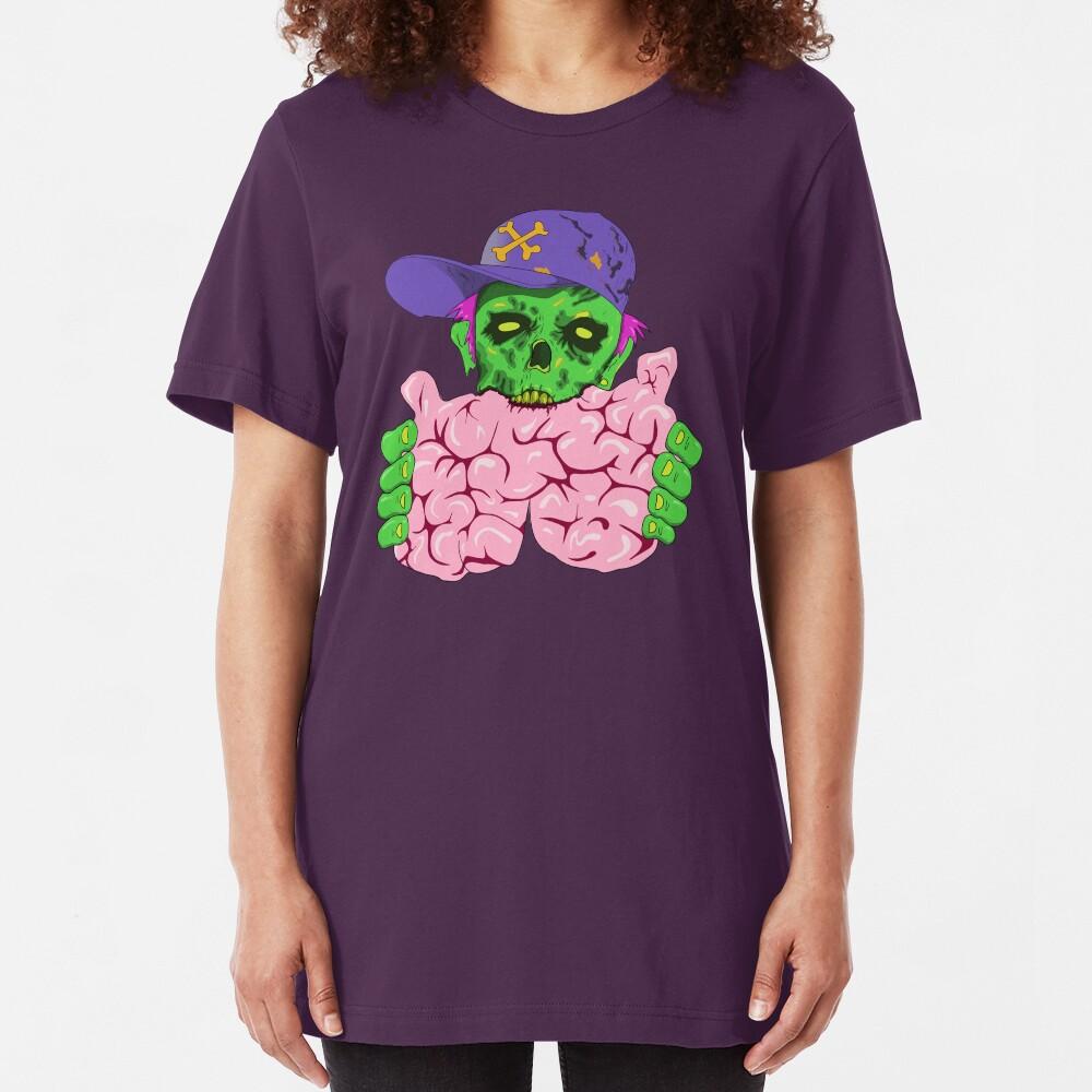 Crypto Zombie eating brainz! Slim Fit T-Shirt