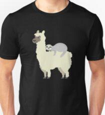 c796fb1083da Cute & Funny Sloth Sleeping On Llama Friend Slim Fit T-Shirt