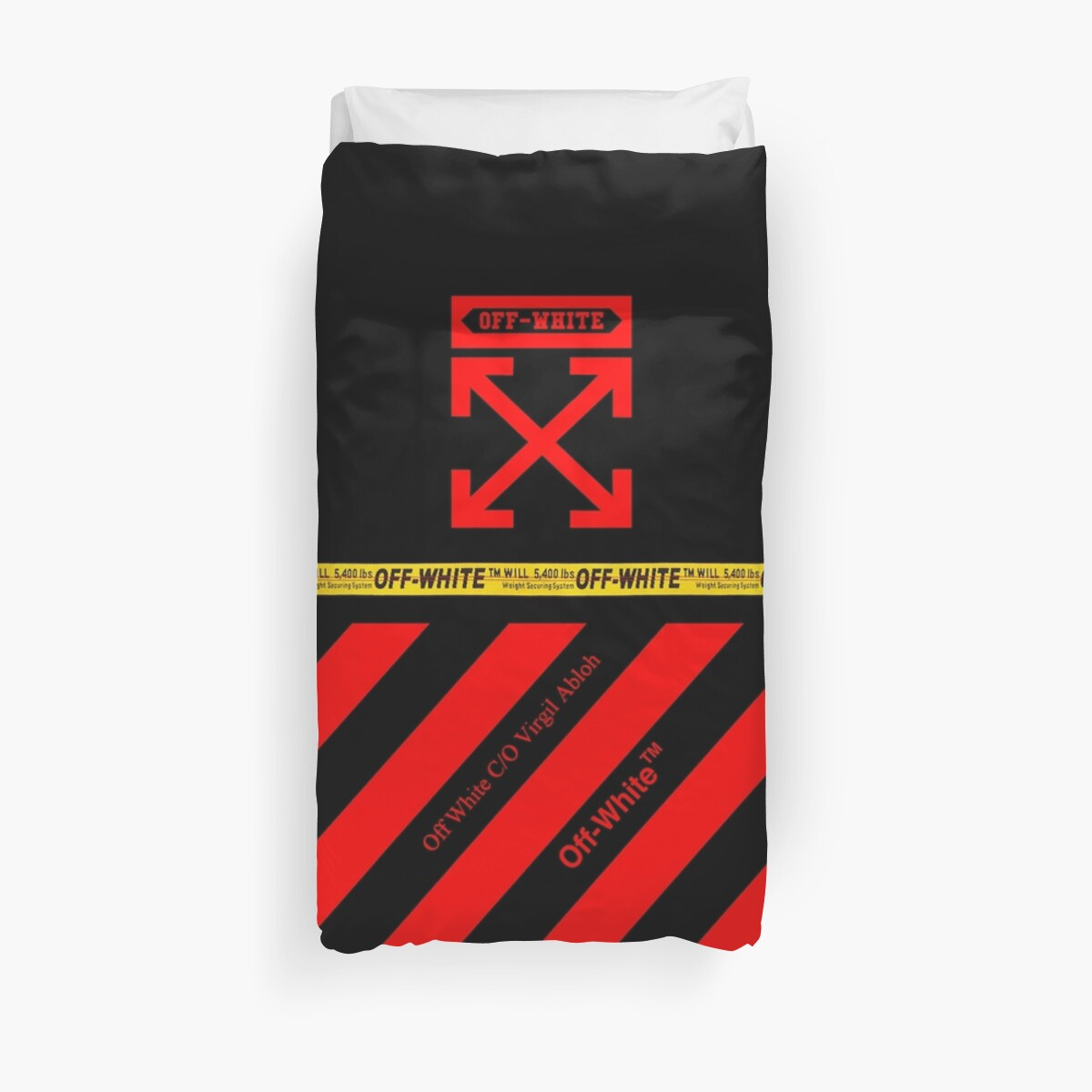 Off White Cover Full Black and Red Stripes by DavidMartino