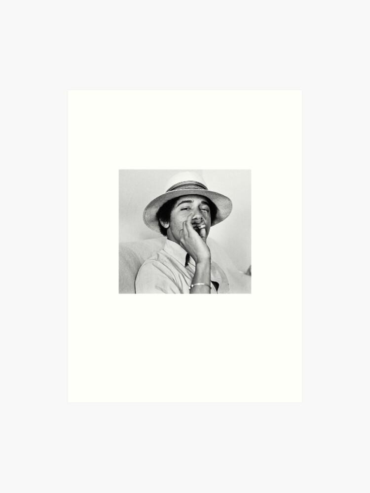 Barack Obama Smoking in College   Vintage Young Obama Tshirt   Art Print