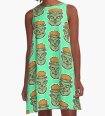 Zombie Frankenstein Vector Art A-Line Dress