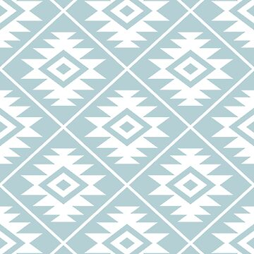 Aztec Symbol Pattern White on Duck Egg Blue by NataliePaskell