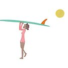 Surfer carrying board on head by Sandy Mitchell
