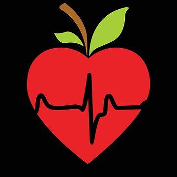 Apple Heartbeat Design Veggie Vegan by Design123