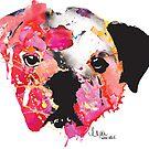 bulldog 1 watercolor dog portrait  by freeinthelines
