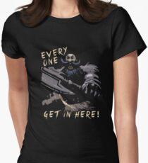 Jeder, komm rein! Tailliertes T-Shirt