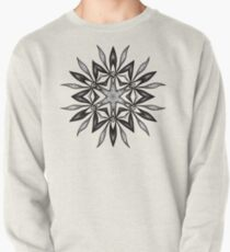 Kaleidoscopic Flower In Black And White Pullover