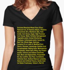 Twinkie ingredients (yellow text on dark color shirts) Women's Fitted V-Neck T-Shirt