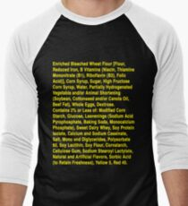 Twinkie ingredients (yellow text on dark color shirts) Men's Baseball ¾ T-Shirt