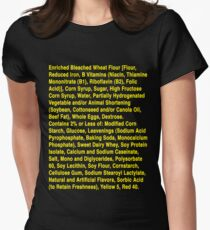 Twinkie ingredients (yellow text on dark color shirts) Women's Fitted T-Shirt