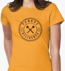 Funny Cheese Pun - Fondue Diligence Women's Fitted T-Shirt