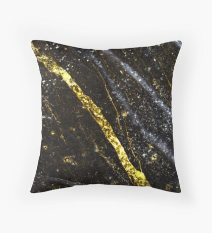 Gold sparkly line on black rock Throw Pillow