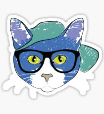 Smart Cat Blue Sticker