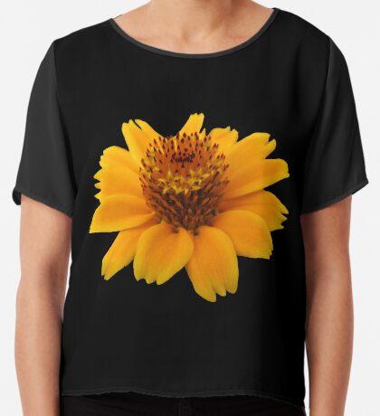 zauberhafte orange Blume, Blüte Chiffontop