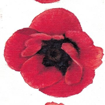 3 Red Poppies oil painting by CecelyBloom