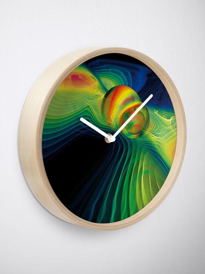 Vista alternativa de Reloj Ondas gravitatorias y agujeros negros que chocan