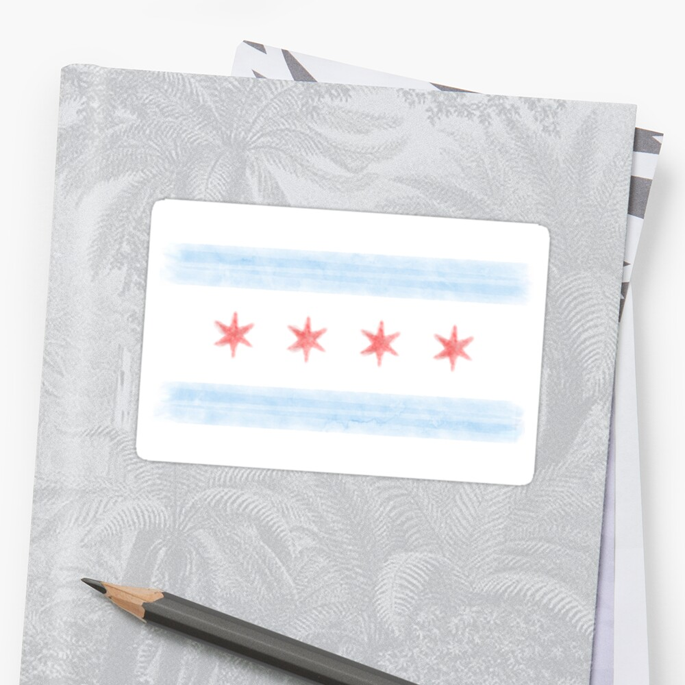 Watercolor Chicago Flag by jay-p