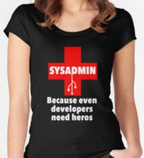 SYSADMIN: Because even developers need heros Women's Fitted Scoop T-Shirt