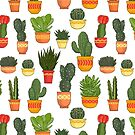 Cactus and Succulent Pattern (Color) by Diane LeonardArt