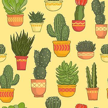 Cactus and Succulent Pattern (Tan) by dianeleonardart