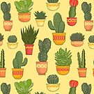 Cactus and Succulent Pattern (Tan) by Diane LeonardArt