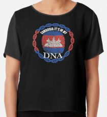 Cambodia Its In My DNA - Cambodia Cambodian Flag In Thumbprint Chiffon Top