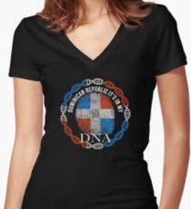 Dominican Republic Its In My DNA - Dominican Republic Dominican Flag In Thumbprint Women's Fitted V-Neck T-Shirt