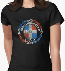 Dominican Republic Its In My DNA - Dominican Republic Dominican Flag In Thumbprint Women's Fitted T-Shirt