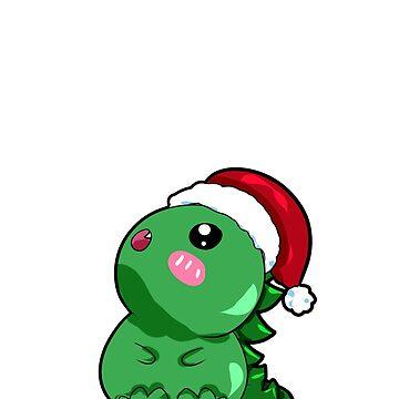 dino dinosaur santa christmas by Moonpie90