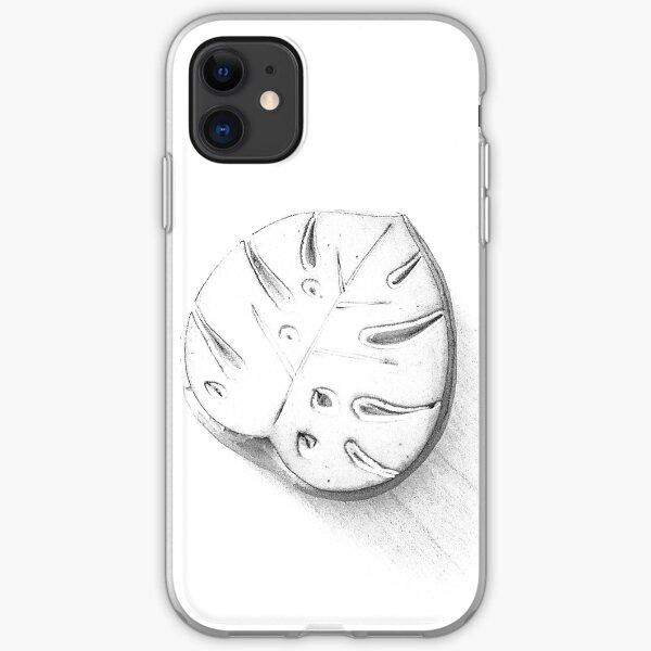 Monstera leaf, monstera deliciosa, black and white iPhone Soft Case