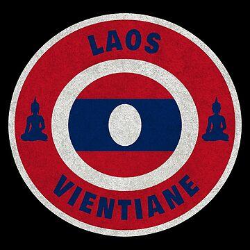 Laos Vientiane flag Buddha gift by Rocky2018