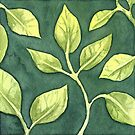 Green Watercolor Leaves by Nora Back