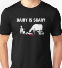 Dairy IS Scary- vegan anti dairy love animals shirt Slim Fit T-Shirt