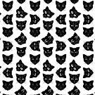 Black and White Spooky Black Cat Print by Evvie Marin